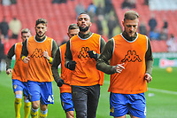 Leeds United warming up during the Sky Bet Championship match between Sheff United and Leeds United at Bramall Lane, Sheffield, England on 1 December 2018. Photo by Stephen Buckley / PRiME Media Images.