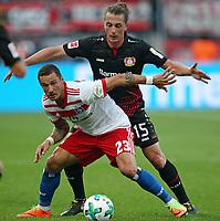 24.09.2017, Football 1. Bundesliga 2017/2018, 6.  match day, Bayer 04 Leverkusen - Hamburger SV, in BayArena Leverkusen.  Sejad Salihovic (Hamburg)  -  Julian Baumgartlinger (Bayer Leverkusen)  *** Local Caption *** © pixathlon<br /> <br /> +++ NED + SUI out !!! +++<br /> Contact: +49-40-22 63 02 60 , info@pixathlon.de
