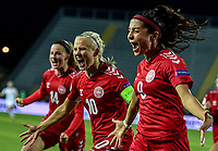 Nadia Nadim celebrates with Pernille Harder and Nicoline Sørensen after scoring the goal of 0-3 during the Women s EURO 2022 qualifying football match between Italy and Denmark at stadio Carlo Castellani in Empoli (Italy), October, 27th, 2020. Photo Andrea Staccioli / Insidefoto