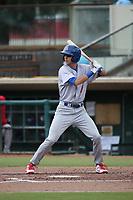 Mickey McDonald (7) of the Stockton Ports bats against the Inland Empire 66ers at San Manuel Stadium on May 26, 2019 in San Bernardino, California. (Larry Goren/Four Seam Images)