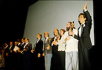 September 1987 File Photo - Montreal (Qc) Canada -Kenny aka the  Kid Brother directed by Claude Gagnon won the Grand-Prix des Amerique - Grand Prize of the Americas that year. In photo : all the winner including Producer Kiyoshi Fujimoto (R) and Claude Gagnon (2nd from right)