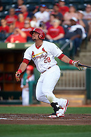 Springfield Cardinals first baseman Jonathan Rodriguez (28) hits a home run during a game against the Frisco RoughRiders  on June 4, 2015 at Hammons Field in Springfield, Missouri.  Frisco defeated Springfield 8-7.  (Mike Janes/Four Seam Images)