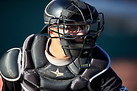 Missoula Osprey catcher Luvin Valbuena (38) warms up before a Pioneer League game against the Idaho Falls Chukars at Melaleuca Field on August 20, 2019 in Idaho Falls, Idaho. Idaho Falls defeated Missoula 6-3. (Zachary Lucy/Four Seam Images)