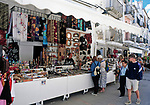 Spanien, Balearen, Ibiza (Eivissa), Ibiza-Stadt: Altstadtgasse mit Souvenirstaenden | Spain, Balearic Islands, Ibiza (Eivissa), Ibiza-City: Old Town lane with souvenir-shops
