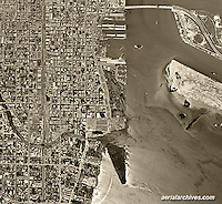 historical aerial photograph Miami, Florida, 1961