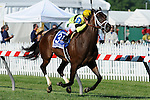 Hudson Steele (no. 3), ridden by Javier Castellano and trained by Todd Pletcher, wins the grade 2 Dixie Stakes for three year olds and upward on May 19, 2012 at Pimlico Race Course in Baltimore, Maryland  (Bob Mayberger/Eclipse Sportswire)