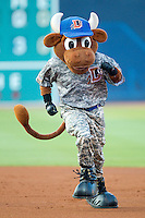 """Durham Bulls mascot """"Wool E. Bull"""" runs the bases between innings of the International League game between the Lehigh Valley IronPigs and the Durham Bulls at Durham Bulls Athletic Park June 26, 2010, in Durham, North Carolina.  Photo by Brian Westerholt / Four Seam Images"""