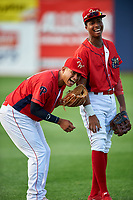 Williamsport Crosscutters Gregori Rivero (23) and Malvin Matos (26) before a game against the Mahoning Valley Scrappers on July 8, 2017 at BB&T Ballpark at Historic Bowman Field in Williamsport, Pennsylvania.  Williamsport defeated Mahoning Valley 6-1.  (Mike Janes/Four Seam Images)