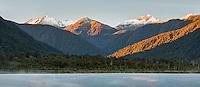 Lake Moeraki with sunrise on Thomas Range, South Westland, Landsbourough, West Coast, UNESCO World Heritage Area,, New Zealand, NZ