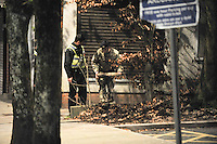 Wednesday 11 January 2017<br /> Pictured: Police and the Bomb Squad at the scene<br /> Re: A World War One bomb which was taken into a Neath Port Talbot pub has been removed and people allowed back home.<br /> South Wales Police evacuated residents in Herbert Street, Pontardawe, at about 19:30 GMT on Wednesday after the device was brought into the Pink Geranium pub before being taken outside.<br /> The Army's ordnance disposal team was called to remove it.<br /> Just after midnight on Thursday, police said the bomb had been taken away and the area declared safe.