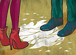 Illustrative image of couple standing on cracked floor representing relationship difficulty