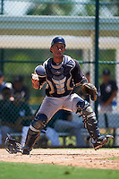 GCL Yankees East catcher Algeni Mateo (26) throws to first during a game against the GCL Pirates on August 15, 2016 at the Pirate City in Bradenton, Florida.  GCL Pirates defeated GCL Yankees East 5-2.  (Mike Janes/Four Seam Images)