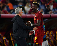 Calcio, Serie A: AS Roma vs Udinese, Olympic stadium, September 23, 2021.<br /> Roma's Tammy Abraham (R) greets his coach José Mourinhod (L)  as he leaves the pitch during the Italian Serie A football match between Roma and Udinese at Rome's Olympic stadium, on September 23, 2021.<br /> UPDATE IMAGES PRESS/Isabella  Bonotto