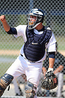 Detroit Tigers minor league catcher Patrick Leyland (13) vs. the Philadelphia Phillies during an Instructional League game at Tiger Town in Lakeland, Florida;  October 13, 2010.  Photo By Mike Janes/Four Seam Images