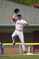 Auburn Doubledays first baseman Ryan Ripken (20) stretches for a throw during the second game of a doubleheader against the Batavia Muckdogs on September 4, 2016 at Dwyer Stadium in Batavia, New York.  Batavia defeated Auburn 6-5. (Mike Janes/Four Seam Images)