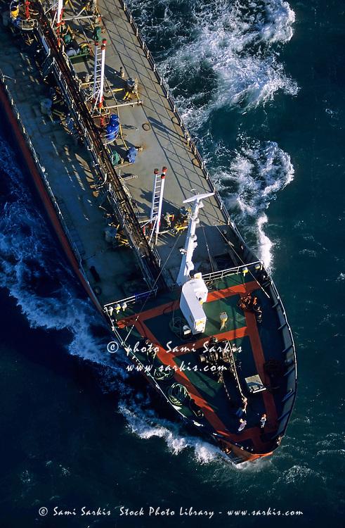 Oil tanker on the Mediterranean Sea heading towards Fos Sur Mer Port, France.