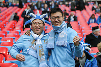 Manchester City fans ahead of the Capital One Cup match between Liverpool and Manchester City at Wembley Stadium, London, England on 28 February 2016. Photo by David Horn / PRiME Media Images.