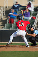 Grant Massey (18) of the Kannapolis Intimidators at bat against the Hickory Crawdads at Kannapolis Intimidators Stadium on April 10, 2016 in Kannapolis, North Carolina.  The Intimidators defeated the Crawdads 10-3.  (Brian Westerholt/Four Seam Images)