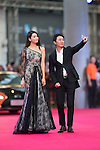 Wu Zhoutong and his girlfriend Jin Ye walk the Red Carpet event at the World Celebrity Pro-Am 2016 Mission Hills China Golf Tournament on 20 October 2016, in Haikou, China. Photo by Victor Fraile / Power Sport Images
