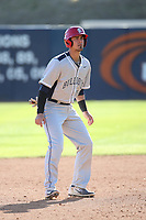 Aaron Arruda (27) of the Fresno State Bulldogs leads off of second base during a game against the Pepperdine Waves at Eddy D. Field Stadium on March 7, 2017 in Los Angeles, California. Pepperdine defeated Fresno State, 8-7. (Larry Goren/Four Seam Images)