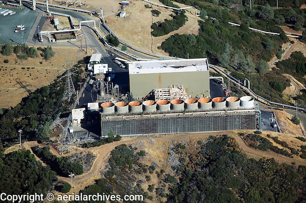 aerial above The Geysers largest group of geothermal power plants in the world northern California
