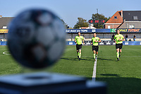 referee Christophe Windels with assistant referees Toon Bonduel and Jiri Bergs  pictured during the warming up of a female soccer game between SV Zulte - Waregem and Oud Heverlee Leuven on the sixth matchday of the 2021 - 2022 season of Belgian Scooore Womens Super League , saturday 9 of October 2021  in Zulte , Belgium . PHOTO SPORTPIX   DIRK VUYLSTEKE