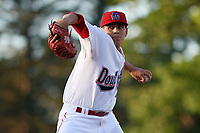 Auburn Doubledays starting pitcher Seth Romero (21) delivers a warmup pitch during a game against the Connecticut Tigers on August 8, 2017 at Falcon Park in Auburn, New York.  Auburn defeated Connecticut 7-4.  (Mike Janes/Four Seam Images)