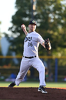 Troy Marks (36) of the Hillsboro Hops pitches during a game against the Salem-Keizer Volcanoes at Ron Tonkin Field on July 27, 2015 in Hillsboro, Oregon. Hillsboro defeated Salem-Keizer, 9-2. (Larry Goren/Four Seam Images)