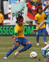 Brazil forward Neymar (11) on the attack. In an international friendly (Clash of Titans), Argentina defeated Brazil, 4-3, at MetLife Stadium on June 9, 2012.