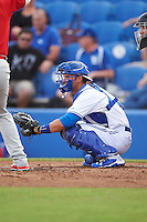 Dunedin Blue Jays catcher Mike Reeves (7) during a game against the Palm Beach Cardinals on April 15, 2016 at Florida Auto Exchange Stadium in Dunedin, Florida.  Dunedin defeated Palm Beach 8-7 in ten innings.  (Mike Janes/Four Seam Images)