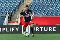 FOXBOROUGH, MA - JULY 23: Colin Verfurth #35 of New England Revolution II brings the ball forward during a game between Toronto FC II and New England Revolution II at Gillette Stadium on July 23, 2021 in Foxborough, Massachusetts.