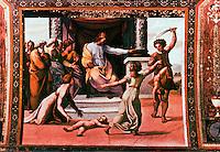 "Vatican:  Loggia of Raphael--2nd floor of Apostolic Palace of Vatican.  Fresco of Raphael ""Judgment""."