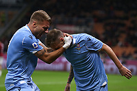 Ciro Immobile of Lazio celebrates with team mate Manuel Lazzari after heading the ball into the net from his cross to give the side a 1-0 lead during the Serie A match at Giuseppe Meazza, Milan. Picture date: 3rd November 2019. Picture credit should read: Jonathan Moscrop/Sportimage PUBLICATIONxNOTxINxUK SPI-0299-0018<br /> Milano 03-11-2019 Stadio San Siro <br /> Football Serie A 2019/2020 <br /> AC Milan - SS Lazio <br /> Photo Jonathan Moscrop / Sportimage / Imago  / Insidefoto <br /> ITALY ONLY