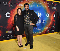 """LOS ANGELES - FEBRUARY 26:(L-R) National Geographic Global Television Networks President Courteney Monroe and astrophysicist Neil deGrasse Tyson attend National Geographic's 2020 Los Angeles premiere of """"Cosmos: Possible Worlds"""" at Royce Hall on February 26, 2020 in Los Angeles, California. Cosmos: Possible Worlds premieres Monday, March 9 at 8/7c on National Geographic. (Photo by Frank Micelotta/National Geographic/PictureGroup)"""