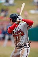 Jesse Franklin V (33) of the Rome Braves at bat against the Greensboro Grasshoppers at First National Bank Field on May 16, 2021 in Greensboro, North Carolina. (Brian Westerholt/Four Seam Images)