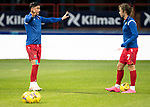 Dundee v St Johnstone…22.09.21  Dens Park.    Premier Sports Cup<br />Michael O'Halloran and Stevie May pictured during thewarm-up<br />Picture by Graeme Hart.<br />Copyright Perthshire Picture Agency<br />Tel: 01738 623350  Mobile: 07990 594431