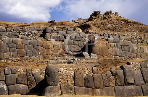 Cusco, Peru. Zigzag Inca polygonal stone wall perimeter of the main stronghold of Saqsayhuaman.