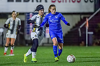 Charleroi midfielder Yasaman Farmani (6) and Genk's forward Britt Labro (17) pictured during a female soccer game between Sporting Charleroi and KRC Genk Ladies on the 9th matchday of the 2020 - 2021 season of Belgian Scooore Womens Super League , friday 11 th of December 2020  in Marcinelle , Belgium . PHOTO SPORTPIX.BE | SPP | STIJN AUDOOREN