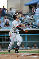 Ronnie Jebavy (1) of the San Jose Giants bats against the Lancaster JetHawks at The Hanger on August 13, 2016 in Lancaster, California. Lancaster defeated San Jose, 16-2. (Larry Goren/Four Seam Images)