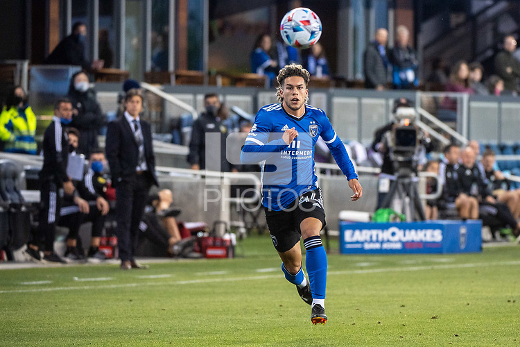 SAN JOSE, CA - MAY 22: Cade Cowell #44 of the San Jose Earthquakes chases the ball during a game between San Jose Earthquakes and Sporting Kansas City at PayPal Park on May 22, 2021 in San Jose, California.