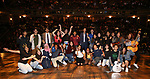 """Gabby Sorrentino with student performers during the Q & A before The Rockefeller Foundation and The Gilder Lehrman Institute of American History sponsored High School student #EduHam matinee performance of """"Hamilton"""" at the Richard Rodgers Theatre on 5/22/2019 in New York City."""
