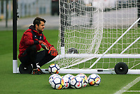Lukasz Fabianski sits on the wheel on the nets during the Swansea City Training at The Fairwood Training Ground, Swansea, Wales, UK. Wednesday 27 September 2017