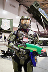 """Master Chief, a character of the video game Halo poses for the cameras at the Niconico Douga fan event at Makuhari Messe International Exhibition Hall on April 25, 2015, Chiba, Japan. The event includes special attractions such as J-pop concerts, Sumo and Pro Wrestling matches, cosplay and manga and various robot performances and is broadcast live on via the video-sharing site. Niconico Douga (in English """"Smiley, Smiley Video"""") is one of Japan's biggest video community sites where users can upload, view, share videos and write comments directly in real time, creating a sense of a shared watching. According to the organizers more than 200,000 viewers for two days will see the event by internet. The popular event is held in all 11 halls of the huge Makuhari Messe exhibition center from April 25 to 26. (Photo by Rodrigo Reyes Marin/AFLO)"""