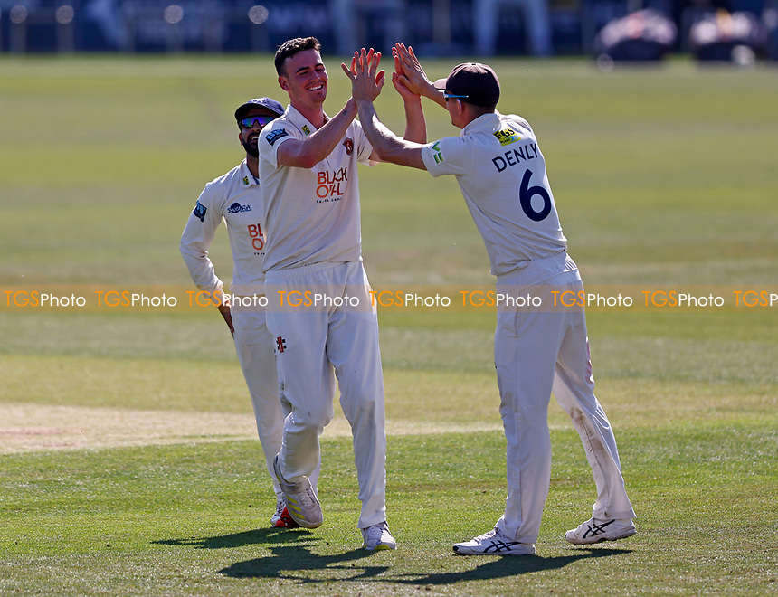 Nathan Gilchrist (L) of Kent is congratulated by Joe Denly after taking the wicket of Dillon Pennington during Kent CCC vs Worcestershire CCC, LV Insurance County Championship Division 3 Cricket at The Spitfire Ground on 7th September 2021