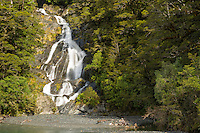 Fantail Falls and Haast River near Haast Pass, Mt. Aspiring National Park, West Coast, South Westland,  New Zealand