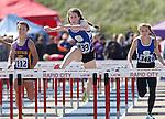 RAPID CITY, SD - MAY 30: Shannon Duffy #339 of St. Thomas More leads Julianne Thomsen #112 of Custer and teammate Avery White  #348 in the girls class A 100 meter hurdles during the 2015 SDHSAA State Track & Field Meet Saturday at O'Harra Stadium in Rapid City, S.D. (Photo by Dick Carlson/Inertia)
