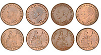 BNPS.co.uk (01202) 558833<br /> Pic: DNW/BNPS<br /> <br /> Pictured:  These George VI coins were part of the sale<br /> <br /> A remarkable single-owner collection of over 200 historic British coins spanning eight monarchs has sold for a staggering £353,000.<br /> <br /> Ian Sawden amassed an array of coinage from the Georgian, Victorian and Edwardian periods, with the latest examples struck during George VI's reign.<br /> <br /> A 1797 Cartwheel proof gold penny from George III's reign, decorated with a laureate bust wearing a wreath with 10 leaves, fetched £24,800.<br /> <br /> A 1788 gold halfpenny depicting Britannia seated with a spear achieved £27,280, while a 1799 gold halfpenny went for £23,560 and a 1848 Proof Florin coin from Victoria's reign sold for £16,120.