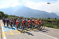 11th September 2021: Trento, Trentino–Alto Adige, Italy: UEC Road European Womens Elite Cycling Championships; The peloton lead by Netherlands team