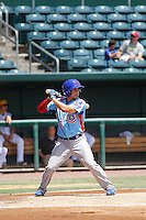 Tennessee Smokies shortstop Elliot Soto (5) at bat during a game against the Jacksonville Suns at Bragan Field on the Baseball Grounds of Jacksonville on June 13, 2015 in Jacksonville, Florida.  Tennessee defeated Jacksonville 12-3. (Robert Gurganus/Four Seam Images)