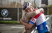 A dissapointed Mathieu Van der Poel (NED/Alpecin-Fenix) has lost the finish sprint against Kasper Asgreen (DEN/Deceuninck - Quick Step) and gets a hug from his girlfriend<br /> <br /> 105th Ronde van Vlaanderen 2021 (MEN1.UWT)<br /> <br /> 1 day race from Antwerp to Oudenaarde (BEL/264km) <br /> <br /> ©kramon